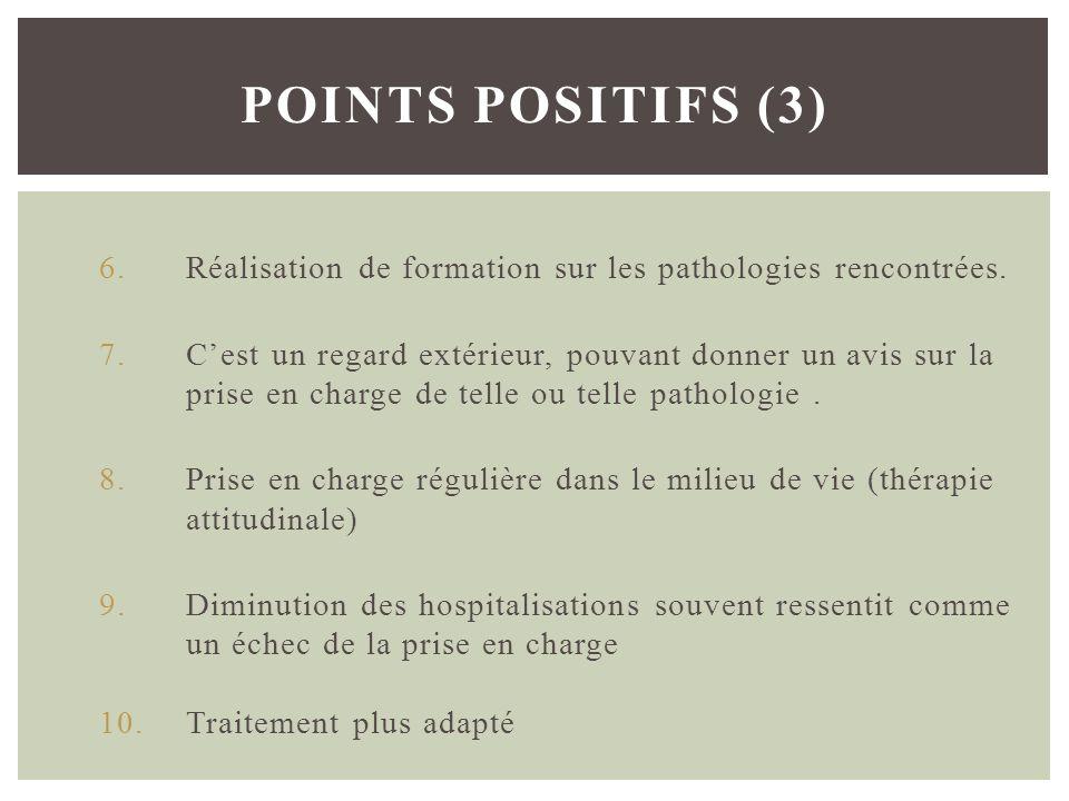 6.Réalisation de formation sur les pathologies rencontrées. 7.Cest un regard extérieur, pouvant donner un avis sur la prise en charge de telle ou tell