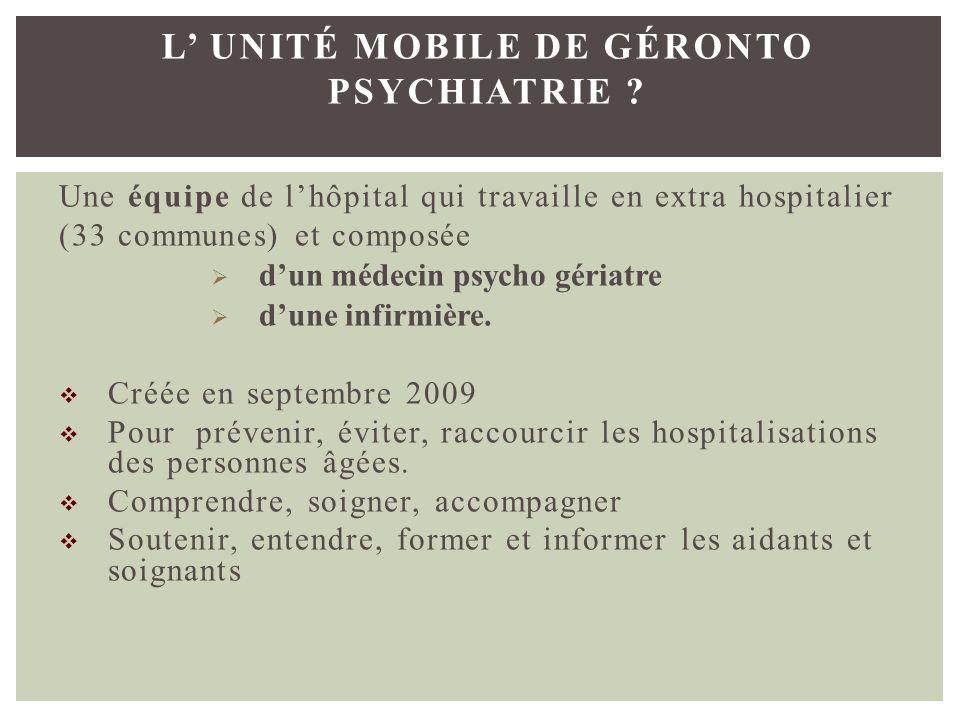 Une équipe de lhôpital qui travaille en extra hospitalier (33 communes) et composée dun médecin psycho gériatre dune infirmière. Créée en septembre 20