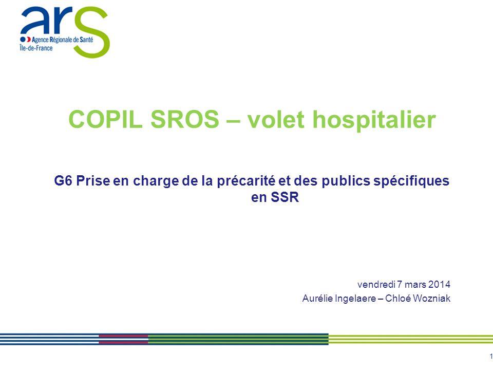 1 COPIL SROS – volet hospitalier G6 Prise en charge de la précarité et des publics spécifiques en SSR vendredi 7 mars 2014 Aurélie Ingelaere – Chloé Wozniak