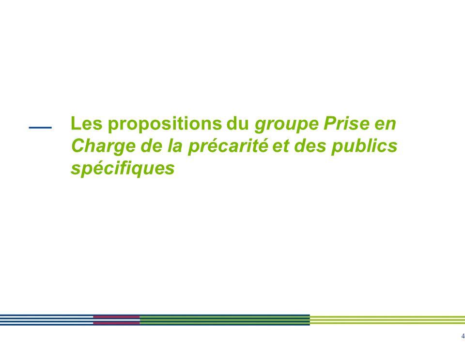 4 Les propositions du groupe Prise en Charge de la précarité et des publics spécifiques