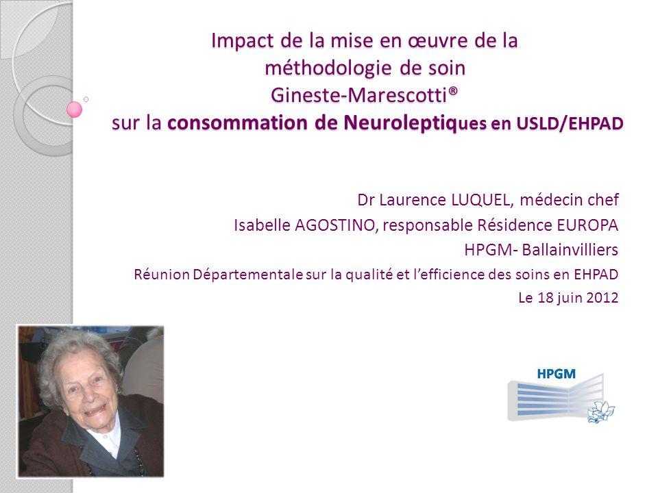 Impact de la mise en œuvre de la méthodologie de soin Gineste-Marescotti® sur la consommation de Neuroleptiq ues en USLD/EHPAD Dr Laurence LUQUEL, méd