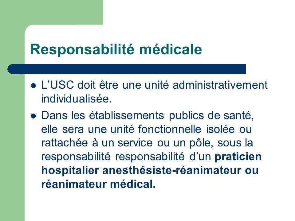 Responsabilité médicale LUSC doit être une unité administrativement individualisée. Dans les établissements publics de santé, elle sera une unité fonc
