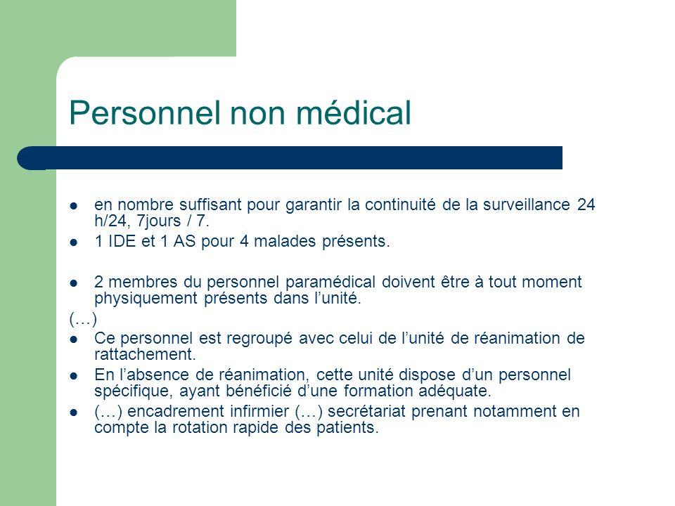 Personnel non médical en nombre suffisant pour garantir la continuité de la surveillance 24 h/24, 7jours / 7. 1 IDE et 1 AS pour 4 malades présents. 2