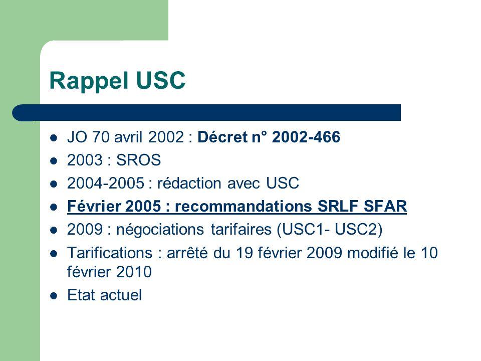 Rappel USC JO 70 avril 2002 : Décret n° 2002-466 2003 : SROS 2004-2005 : rédaction avec USC Février 2005 : recommandations SRLF SFAR 2009 : négociatio