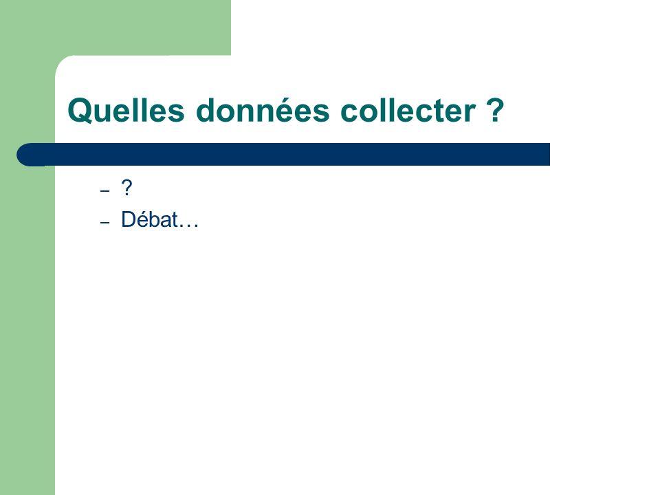 Quelles données collecter ? – ? – Débat…