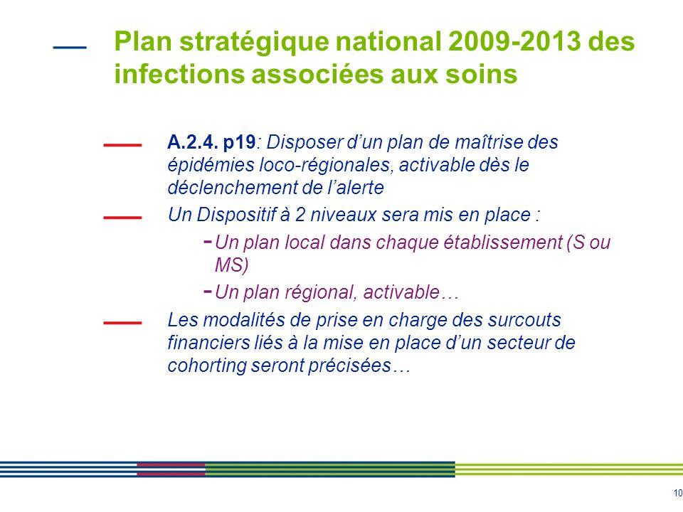 10 Plan stratégique national 2009-2013 des infections associées aux soins A.2.4.
