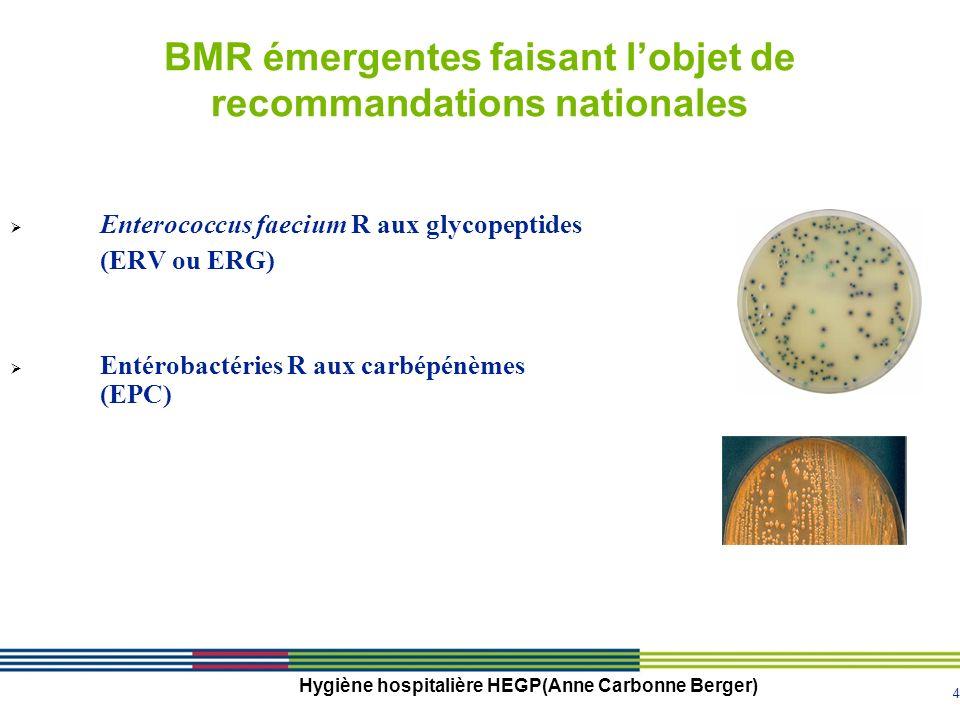 4 Hygiène hospitalière HEGP(Anne Carbonne Berger) Enterococcus faecium R aux glycopeptides (ERV ou ERG) Entérobactéries R aux carbépénèmes (EPC) BMR émergentes faisant lobjet de recommandations nationales