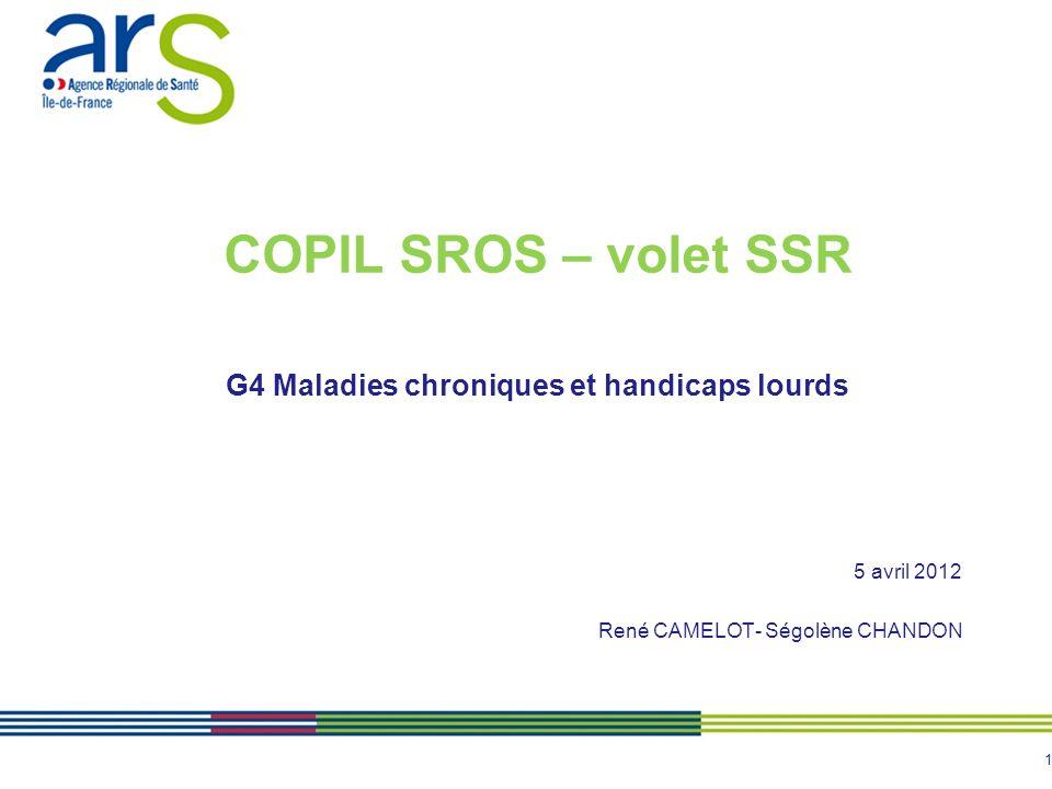 1 COPIL SROS – volet SSR G4 Maladies chroniques et handicaps lourds 5 avril 2012 René CAMELOT- Ségolène CHANDON