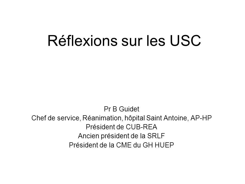 Réflexions sur les USC Pr B Guidet Chef de service, Réanimation, hôpital Saint Antoine, AP-HP Président de CUB-REA Ancien président de la SRLF Président de la CME du GH HUEP