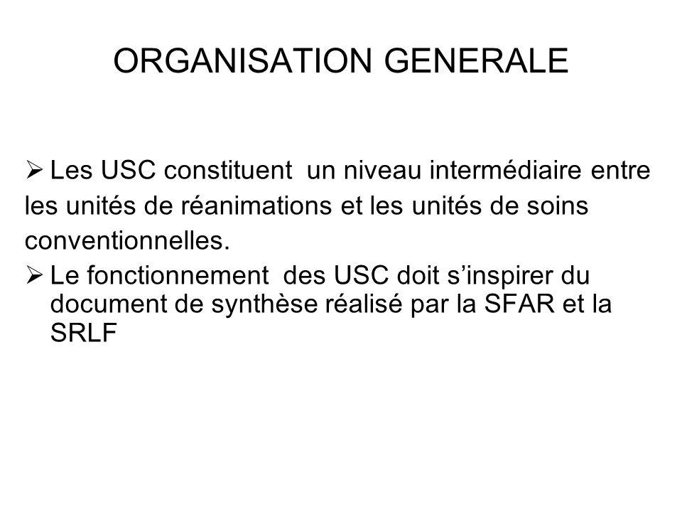 ORGANISATION GENERALE Les USC constituent un niveau intermédiaire entre les unités de réanimations et les unités de soins conventionnelles. Le fonctio