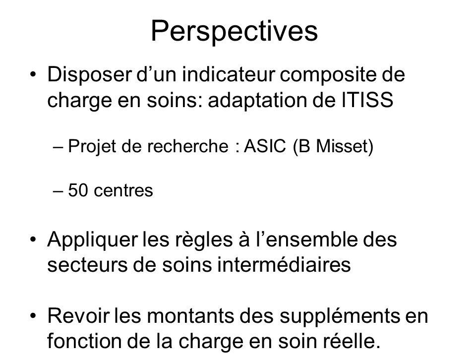 Perspectives Disposer dun indicateur composite de charge en soins: adaptation de lTISS –Projet de recherche : ASIC (B Misset) –50 centres Appliquer le