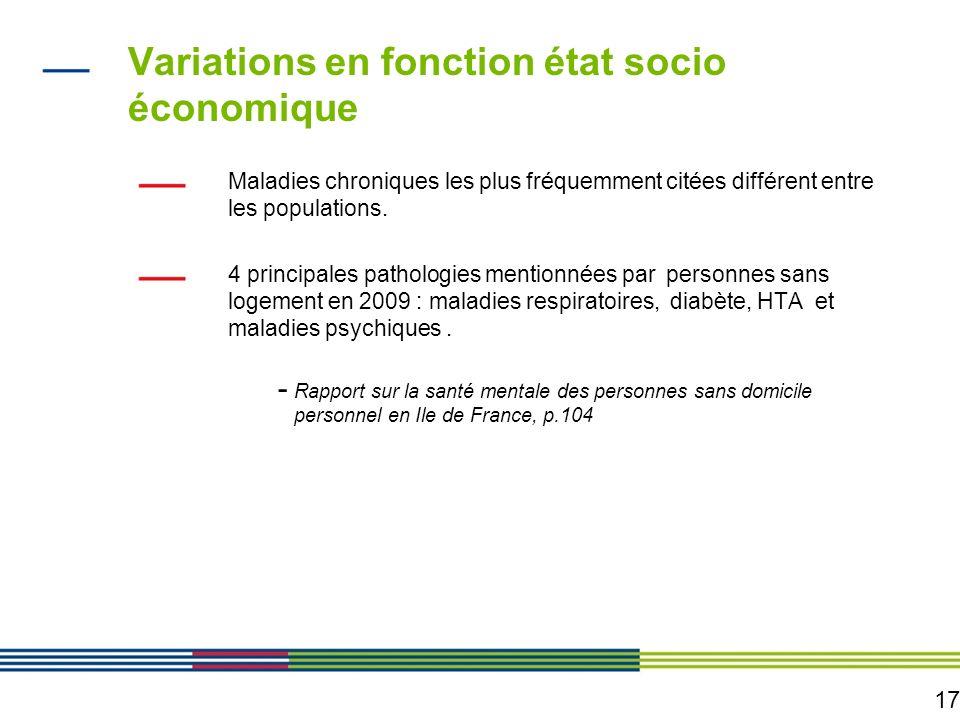 17 Variations en fonction état socio économique Maladies chroniques les plus fréquemment citées différent entre les populations. 4 principales patholo