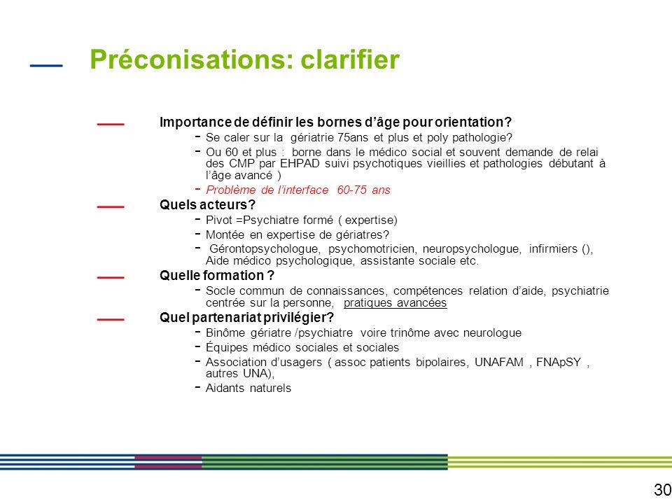 30 Préconisations: clarifier Importance de définir les bornes dâge pour orientation? - Se caler sur la gériatrie 75ans et plus et poly pathologie? - O