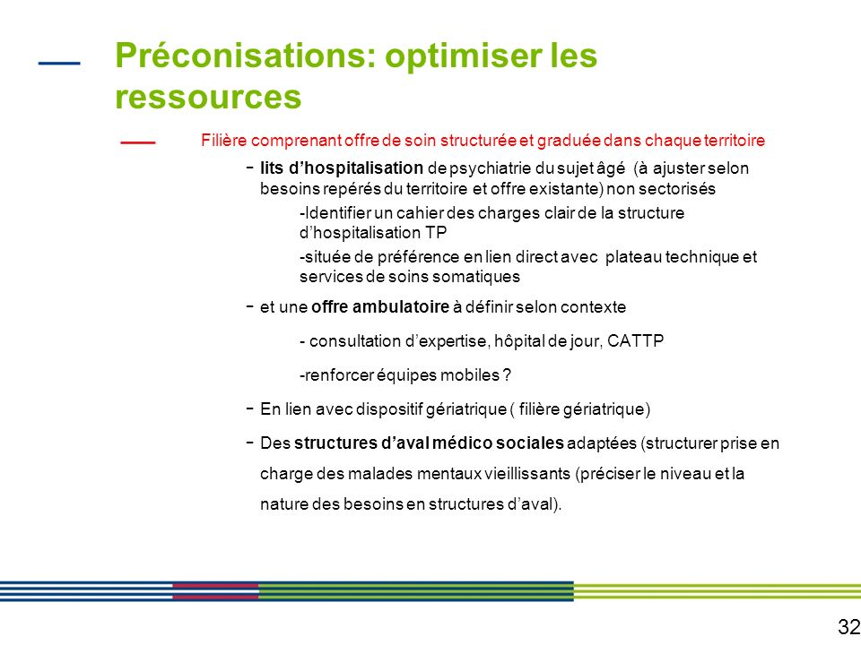 32 Préconisations: optimiser les ressources Filière comprenant offre de soin structurée et graduée dans chaque territoire - lits dhospitalisation de p
