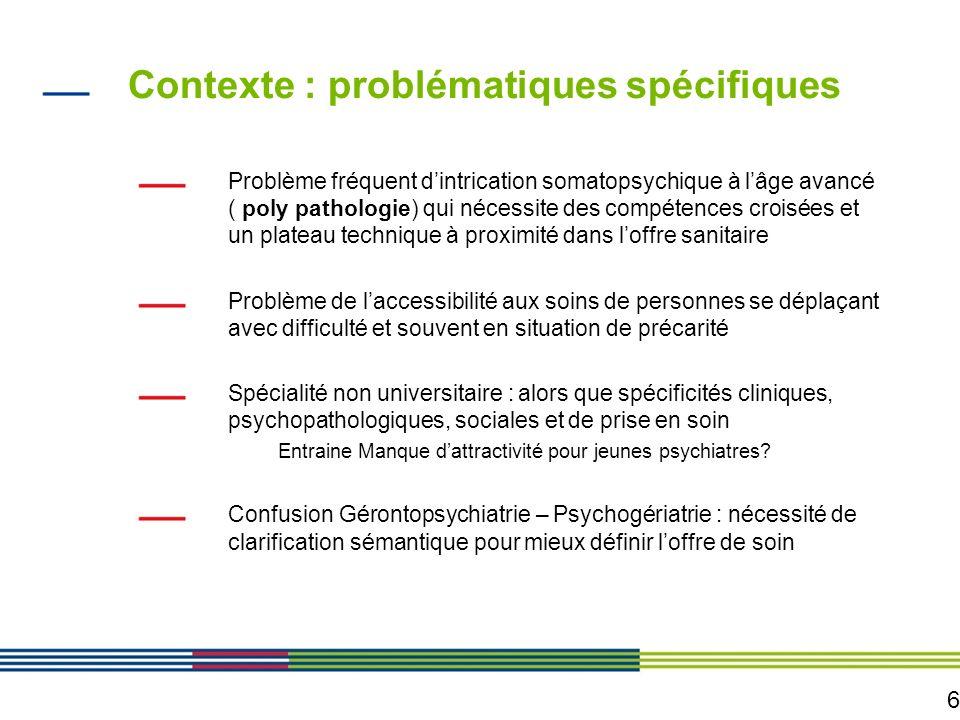 6 Contexte : problématiques spécifiques Problème fréquent dintrication somatopsychique à lâge avancé ( poly pathologie) qui nécessite des compétences