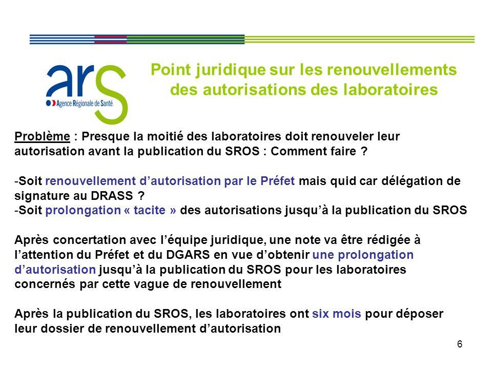 6 Problème : Presque la moitié des laboratoires doit renouveler leur autorisation avant la publication du SROS : Comment faire ? -Soit renouvellement