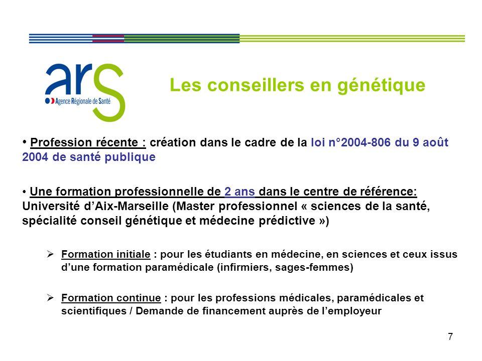 7 Profession récente : création dans le cadre de la loi n°2004-806 du 9 août 2004 de santé publique Une formation professionnelle de 2 ans dans le cen