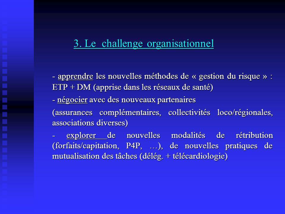 3. Le challenge organisationnel - apprendre les nouvelles méthodes de « gestion du risque » : ETP + DM (apprise dans les réseaux de santé) - négocier