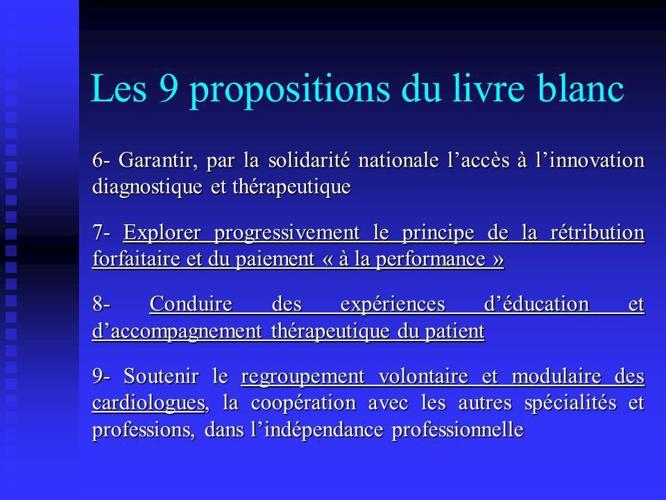 Les 9 propositions du livre blanc 6- Garantir, par la solidarité nationale laccès à linnovation diagnostique et thérapeutique 7- Explorer progressivem