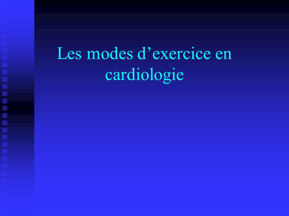 Les modes dexercice en cardiologie
