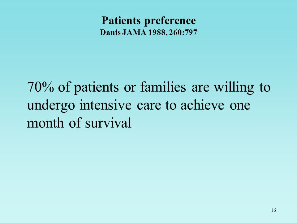 16 Patients preference Danis JAMA 1988, 260:797 70% of patients or families are willing to undergo intensive care to achieve one month of survival