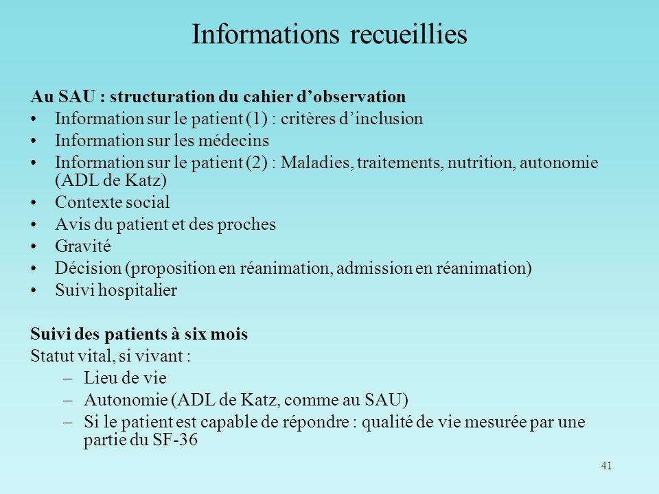 41 Au SAU : structuration du cahier dobservation Information sur le patient (1) : critères dinclusion Information sur les médecins Information sur le