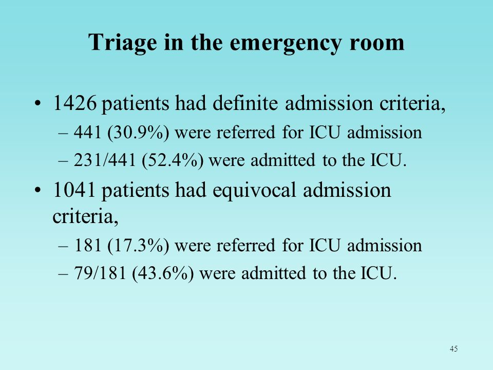 45 Triage in the emergency room 1426 patients had definite admission criteria, –441 (30.9%) were referred for ICU admission –231/441 (52.4%) were admi