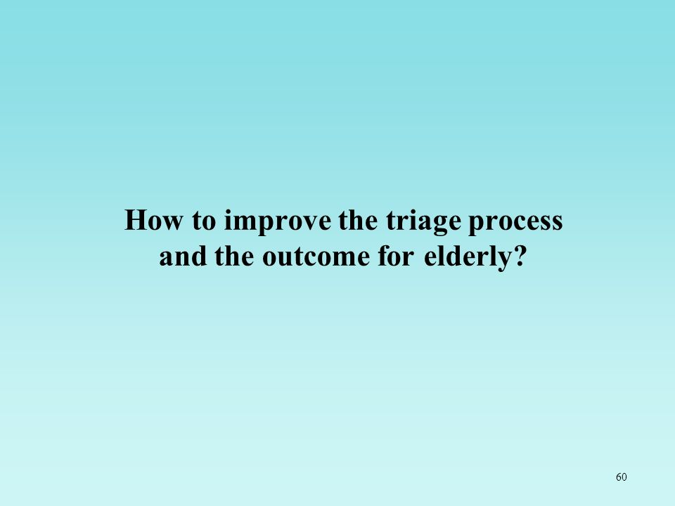 60 How to improve the triage process and the outcome for elderly?