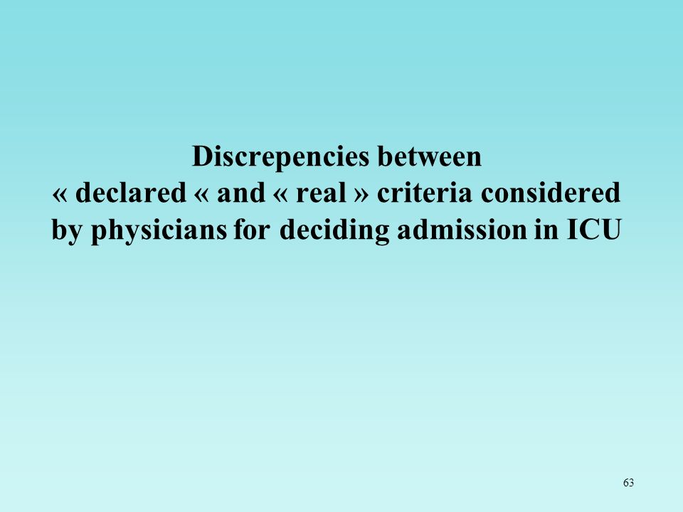 63 Discrepencies between « declared « and « real » criteria considered by physicians for deciding admission in ICU