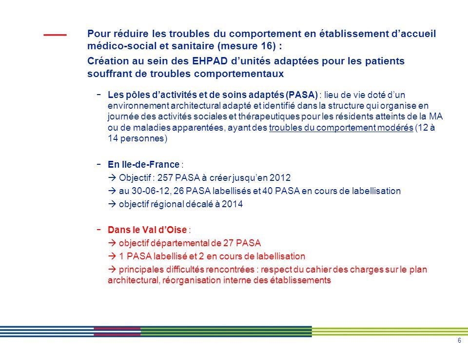 6 Pour réduire les troubles du comportement en établissement daccueil médico-social et sanitaire (mesure 16) : Création au sein des EHPAD dunités adap