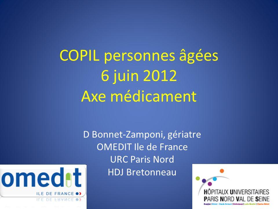 COPIL personnes âgées 6 juin 2012 Axe médicament D Bonnet-Zamponi, gériatre OMEDIT Ile de France URC Paris Nord HDJ Bretonneau