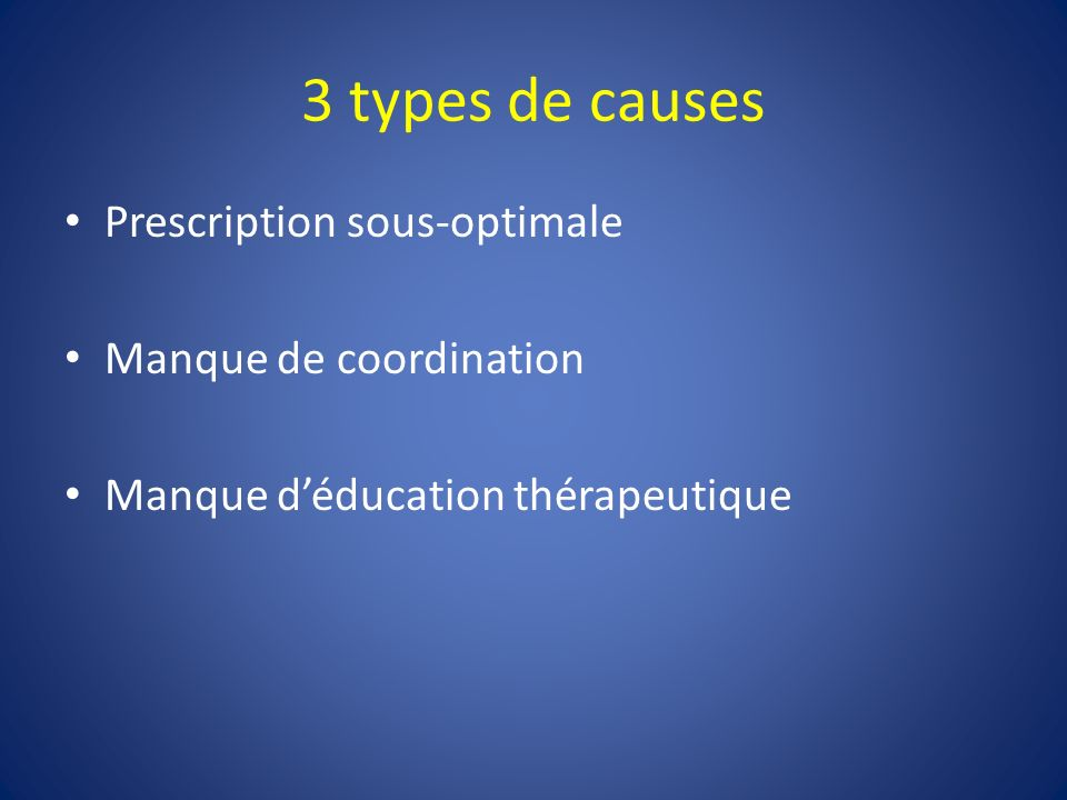 3 types de causes Prescription sous-optimale Manque de coordination Manque déducation thérapeutique