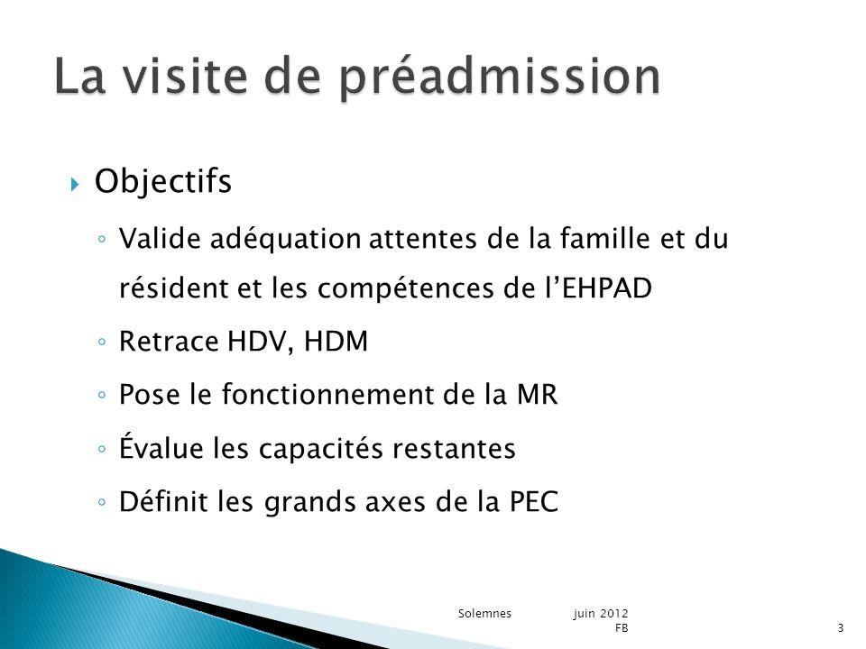 Objectifs Valide adéquation attentes de la famille et du résident et les compétences de lEHPAD Retrace HDV, HDM Pose le fonctionnement de la MR Évalue