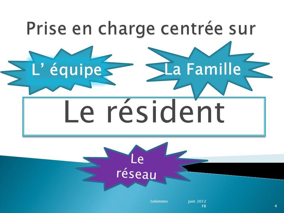 Le résident Solemnes juin 2012 FB4 L équipe La Famille Le réseau