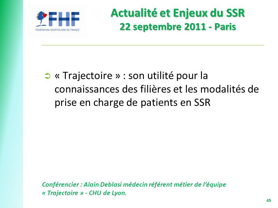 Actualité et Enjeux du SSR 22 septembre 2011 - Paris 45 « Trajectoire » : son utilité pour la connaissances des filières et les modalités de prise en