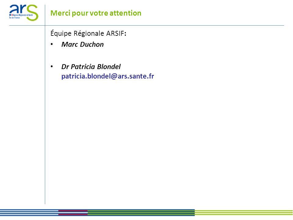 Merci pour votre attention Équipe Régionale ARSIF: Marc Duchon Dr Patricia Blondel patricia.blondel@ars.sante.fr