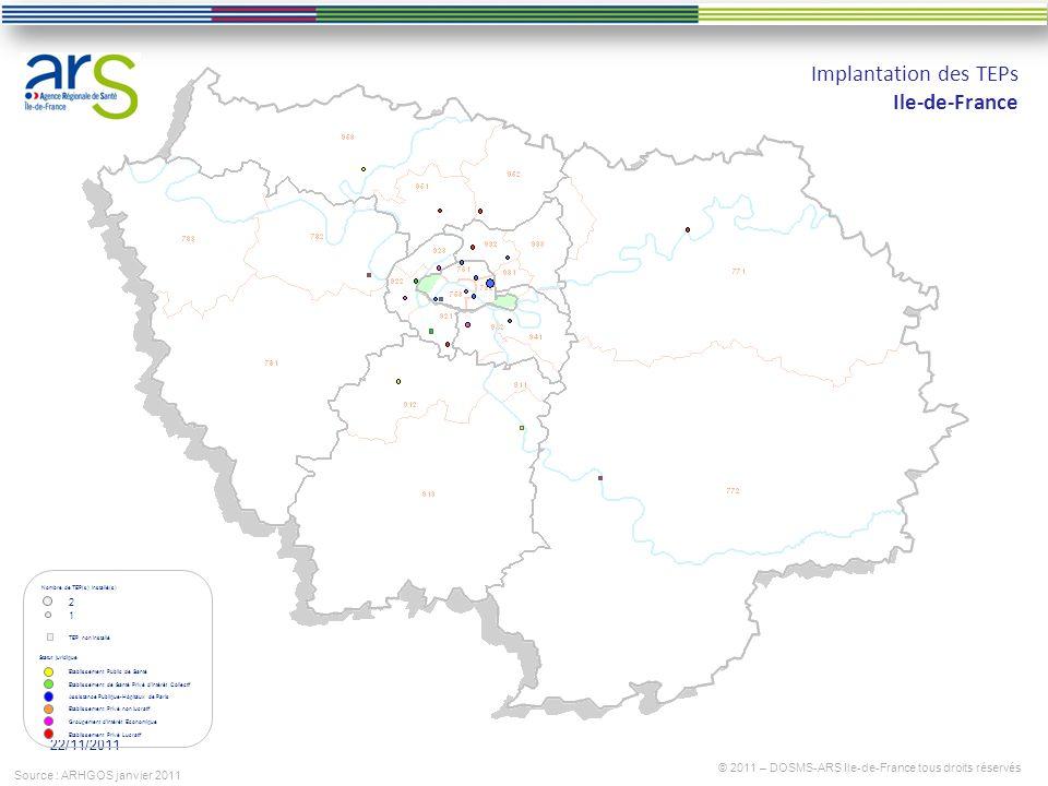 22/11/2011 Implantation des TEPs Ile-de-France © 2011 – DOSMS-ARS Ile-de-France tous droits réservés Source : ARHGOS janvier 2011 Etablissement Public