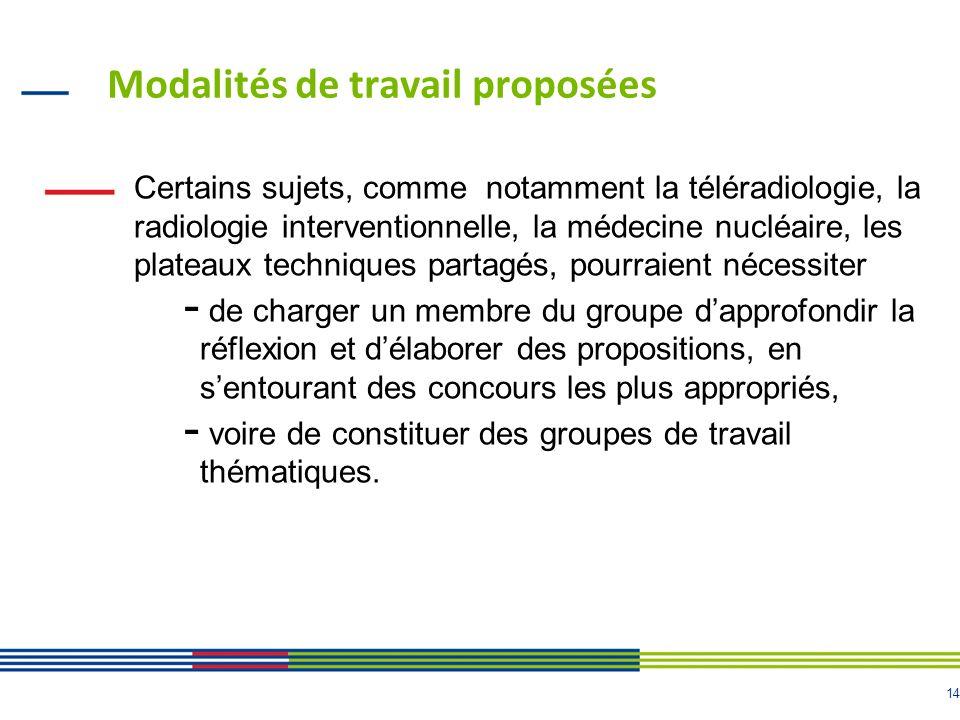 14 Modalités de travail proposées Certains sujets, comme notamment la téléradiologie, la radiologie interventionnelle, la médecine nucléaire, les plat