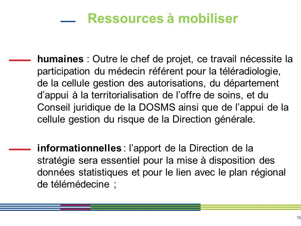 16 Ressources à mobiliser humaines : Outre le chef de projet, ce travail nécessite la participation du médecin référent pour la téléradiologie, de la