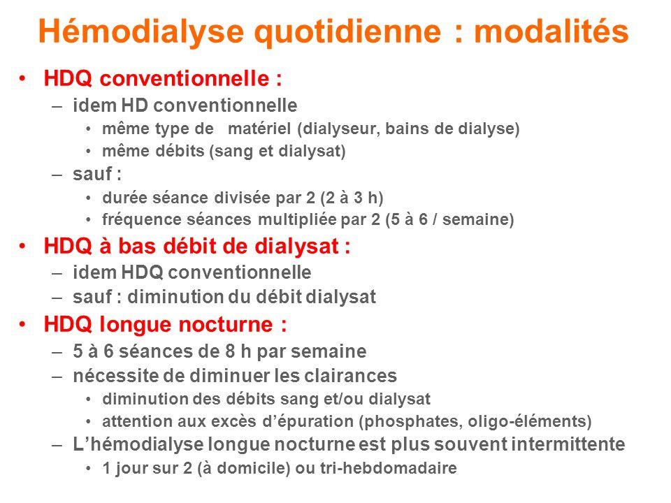 Hémodialyse quotidienne : modalités HDQ conventionnelle : –idem HD conventionnelle même type de matériel (dialyseur, bains de dialyse) même débits (sang et dialysat) –sauf : durée séance divisée par 2 (2 à 3 h) fréquence séances multipliée par 2 (5 à 6 / semaine) HDQ à bas débit de dialysat : –idem HDQ conventionnelle –sauf : diminution du débit dialysat HDQ longue nocturne : –5 à 6 séances de 8 h par semaine –nécessite de diminuer les clairances diminution des débits sang et/ou dialysat attention aux excès dépuration (phosphates, oligo-éléments) –Lhémodialyse longue nocturne est plus souvent intermittente 1 jour sur 2 (à domicile) ou tri-hebdomadaire