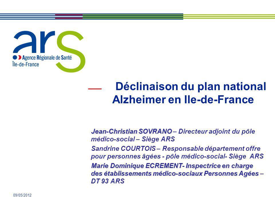 09/05/2012 Déclinaison du plan national Alzheimer en Ile-de-France Jean-Christian SOVRANO Jean-Christian SOVRANO – Directeur adjoint du pôle médico-so