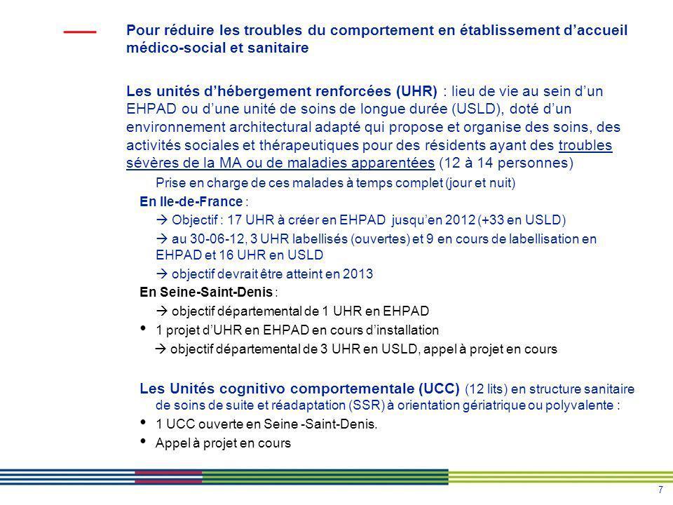 7 Pour réduire les troubles du comportement en établissement daccueil médico-social et sanitaire Les unités dhébergement renforcées (UHR) : lieu de vi