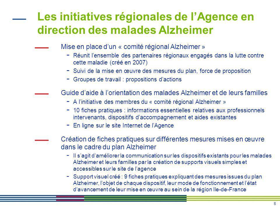 8 Les initiatives régionales de lAgence en direction des malades Alzheimer Mise en place dun « comité régional Alzheimer » - Réunit lensemble des part