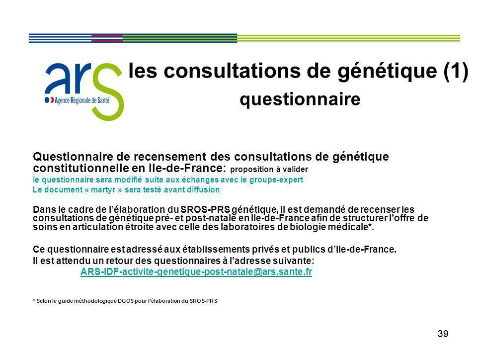 39 Questionnaire de recensement des consultations de génétique constitutionnelle en Ile-de-France: proposition à valider le questionnaire sera modifié
