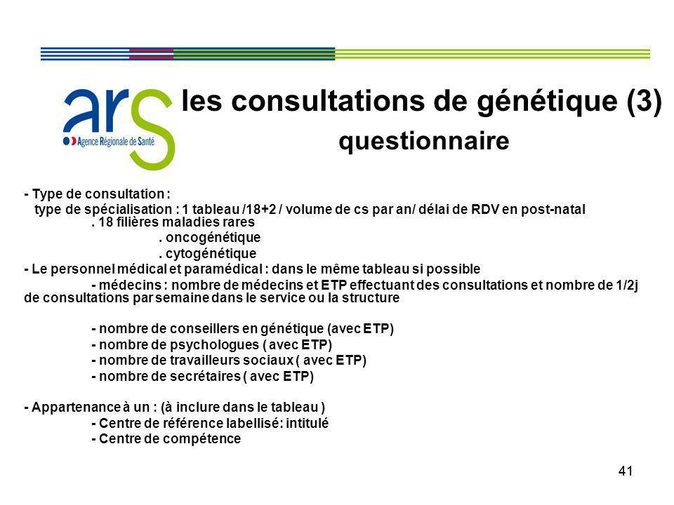 41 - Type de consultation : type de spécialisation : 1 tableau /18+2 / volume de cs par an/ délai de RDV en post-natal. 18 filières maladies rares. on