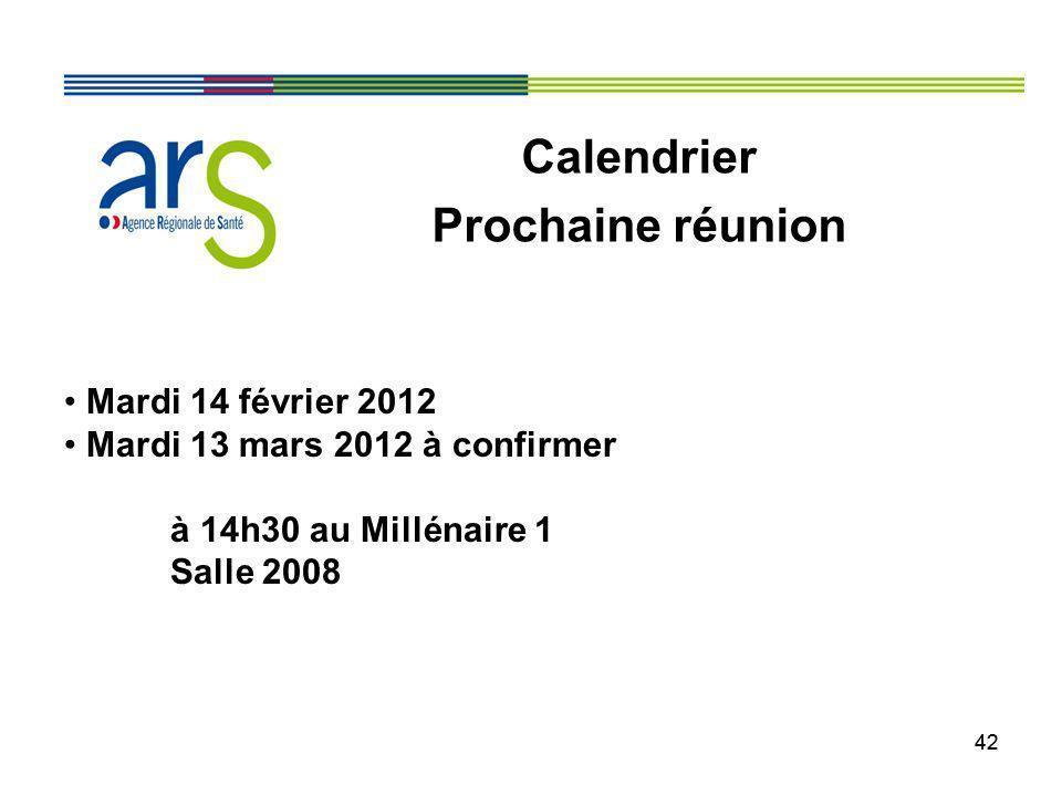 42 Mardi 14 février 2012 Mardi 13 mars 2012 à confirmer à 14h30 au Millénaire 1 Salle 2008 Calendrier Prochaine réunion