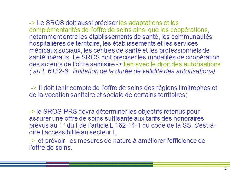 12 -> Le SROS doit aussi préciser les adaptations et les complémentarités de loffre de soins ainsi que les coopérations, notamment entre les établisse