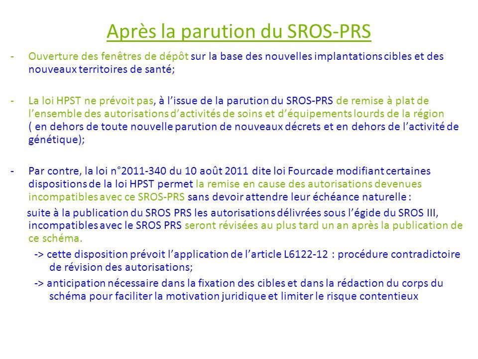 Après la parution du SROS-PRS -Ouverture des fenêtres de dépôt sur la base des nouvelles implantations cibles et des nouveaux territoires de santé; -L