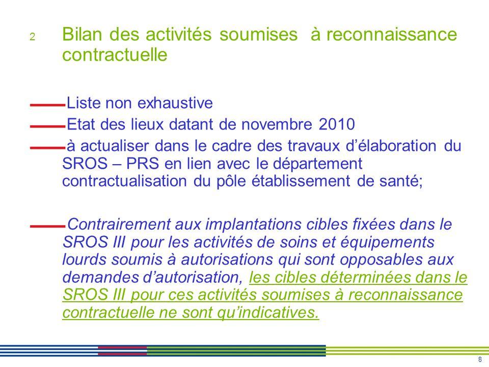 8 2 Bilan des activités soumises à reconnaissance contractuelle Liste non exhaustive Etat des lieux datant de novembre 2010 à actualiser dans le cadre