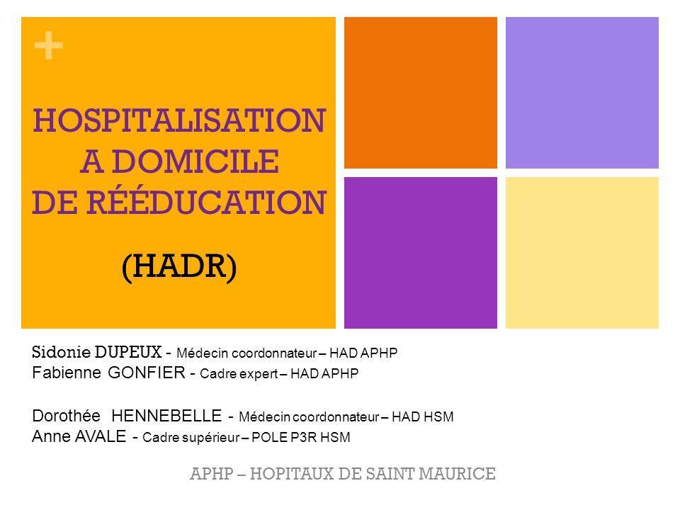 + HOSPITALISATION A DOMICILE DE RÉÉDUCATION APHP – HOPITAUX DE SAINT MAURICE (HADR) Dorothée HENNEBELLE - Médecin coordonnateur – HAD HSM Anne AVALE -